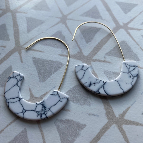 White Turquoise U Earrings