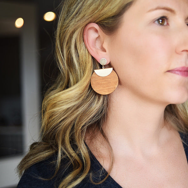 San Francisco Wood Disc Earrings
