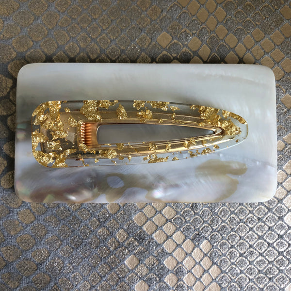 Gold Foil Resin Hair Clip
