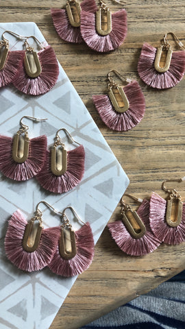 Blush Fringe Earrings