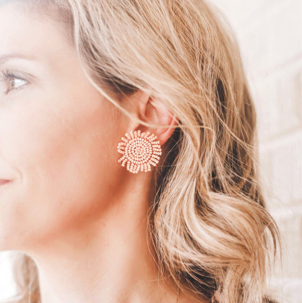 Blush Beaded Statement Studs