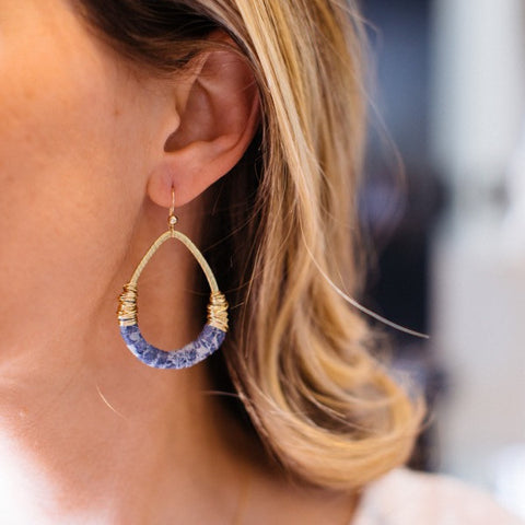 Indigo Leather Earrings