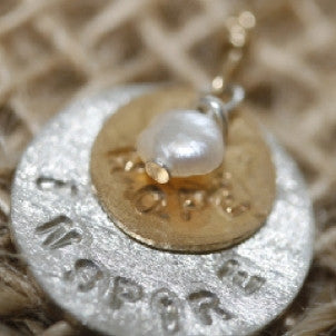 Inspire, Hope, White Pearl Disc Necklace