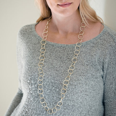 Champagne Toast Long Gold Necklace