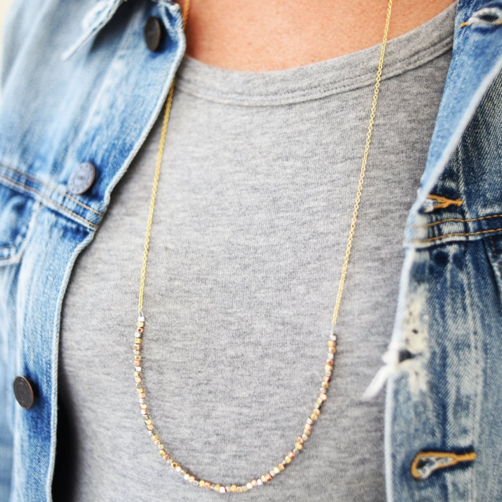 Mixed Metal Long Layering Necklace