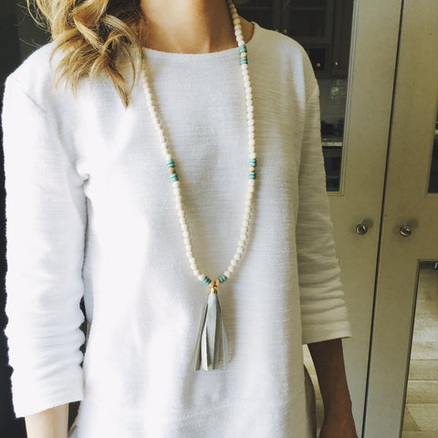 White Mint Natural Tassel Necklace