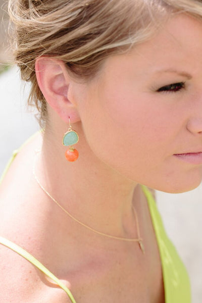 Mint and Canary Earrings