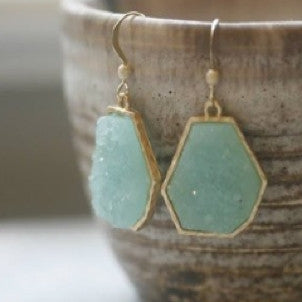 Lagoon Breeze Druzy Earrings