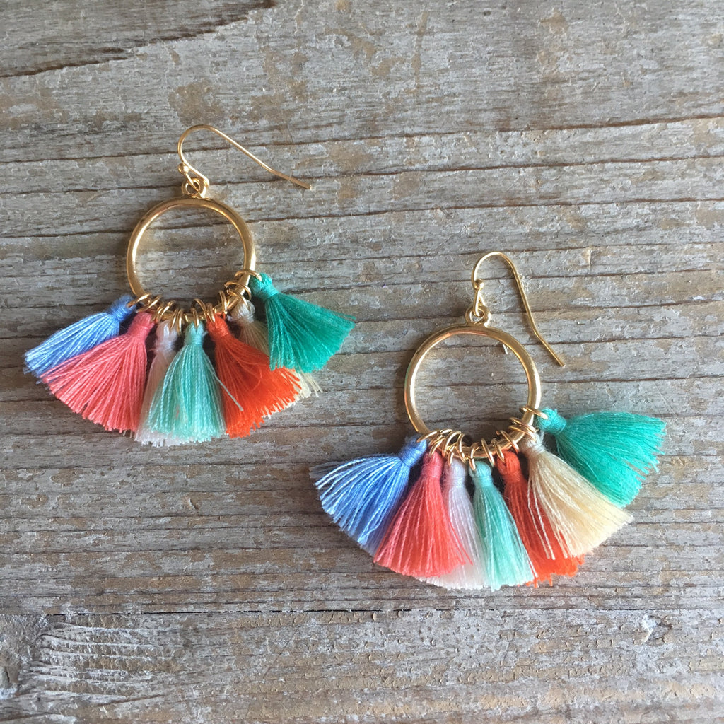Multi-Colored Malibu Tassel Earrings