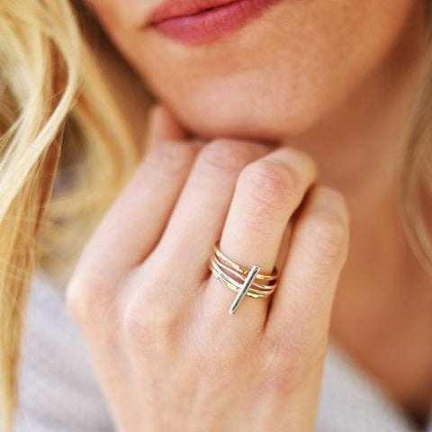Vertical Bar Stack Ring