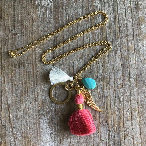 San Diego Charm Tassel Necklace