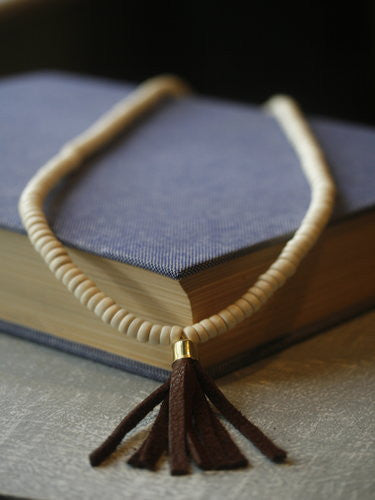 Sand wood and leather tassel necklace