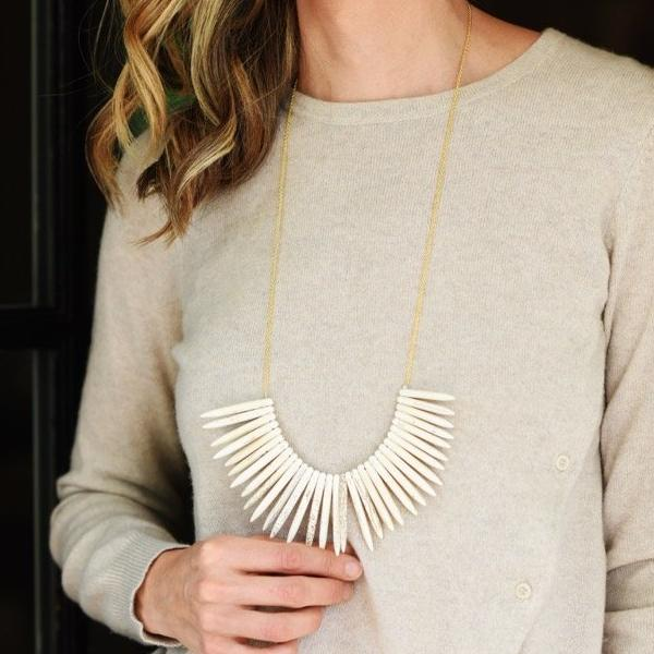Long White Turquoise Necklace