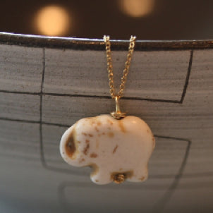 White Turquoise Baby Elephant Necklace