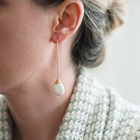 White Turquoise Drop Earrings