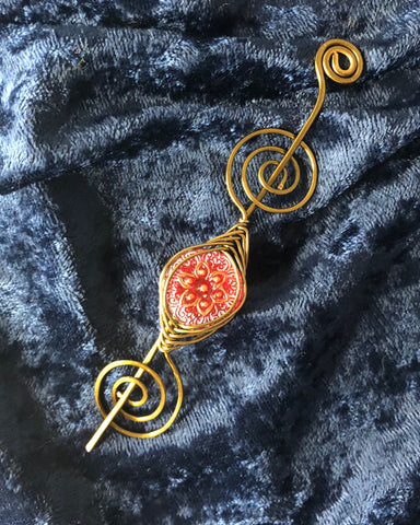 Shawl Pin - Red Starflower