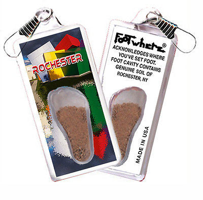 Rochester, NY FootWhere® Souvenir Zipper-Pull. Made in USA
