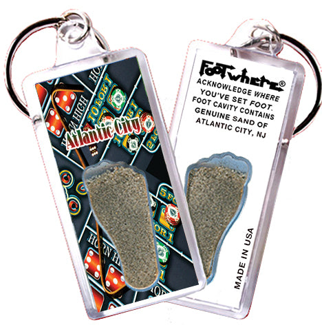 Atlantic City FootWhere® Souvenir Key Chain. Made in USA - FootWhere® Souvenirs