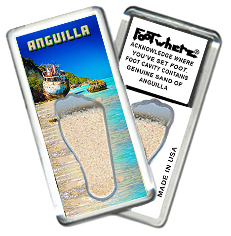 Anguilla FootWhere® Souvenir Fridge Magnet Made in USA - FootWhere® Souvenirs