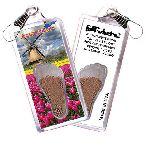 Amsterdam FootWhere® Souvenir Zipper-Pull. Made in USA - FootWhere® Souvenirs