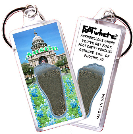 Austin FootWhere® Souvenir Keychain. Made in USA