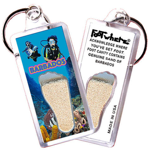 Barbados FootWhere® Souvenir Keychain. Made in USA