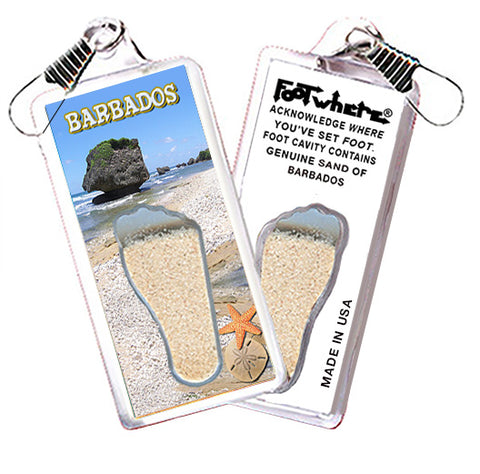 Barbados FootWhere® Souvenir Zipper-Pull. Made in USA - FootWhere® Souvenirs