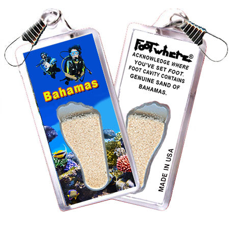 Bahamas FootWhere® Souvenir Zipper-Pull. Made in USA