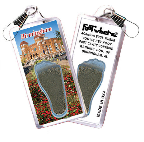Birmingham FootWhere® Souvenir Zipper-Pull. Made in USA - FootWhere® Souvenirs