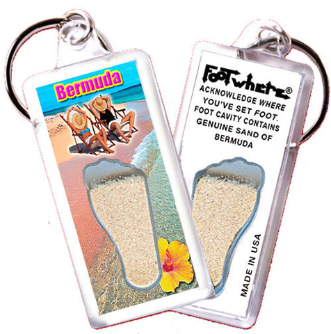 Bermuda FootWhere® Souvenir Keychain. Made in USA - FootWhere® Souvenirs