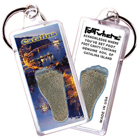 Catalina Island FootWhere® Souvenir Keychain. Made in USA