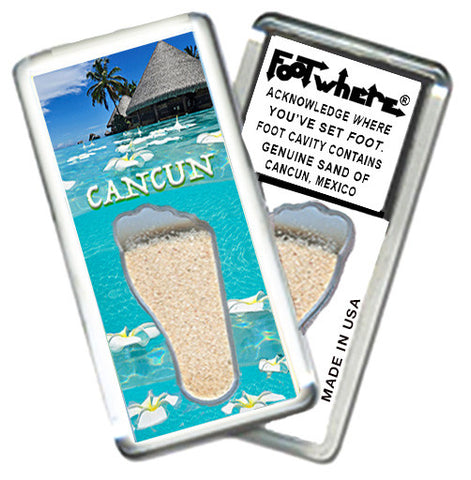 Cancun FootWhere® Souvenir Fridge Magnet. Made in USA