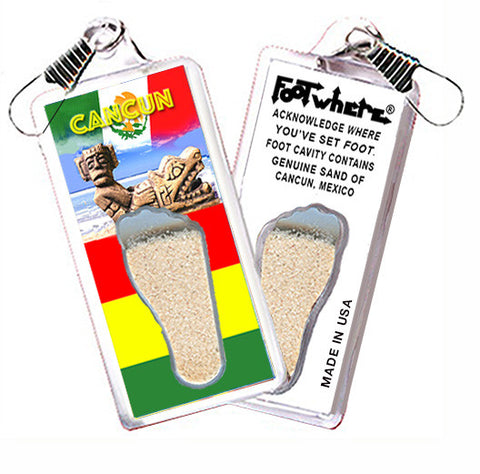 Cancun FootWhere® Souvenir Zipper-Pull. Made in USA