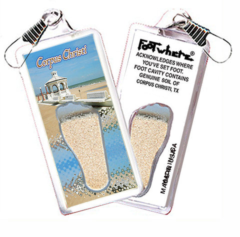 Corpus Christi FootWhere® Souvenir Zipper-Pull. Made in USA