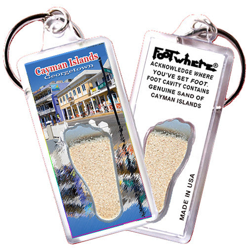 Cayman Islands FootWhere® Souvenir Key Chain. Made in USA - FootWhere® Souvenirs