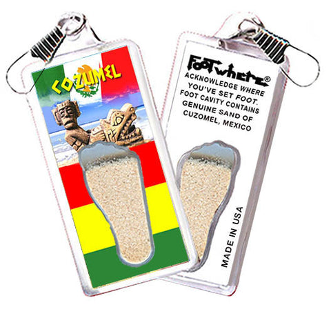 Cozumel FootWhere® Souvenir Zipper-Pull. Made in USA - FootWhere® Souvenirs