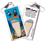 Cozumel FootWhere® Souvenir Zipper-Pull. Made in USA
