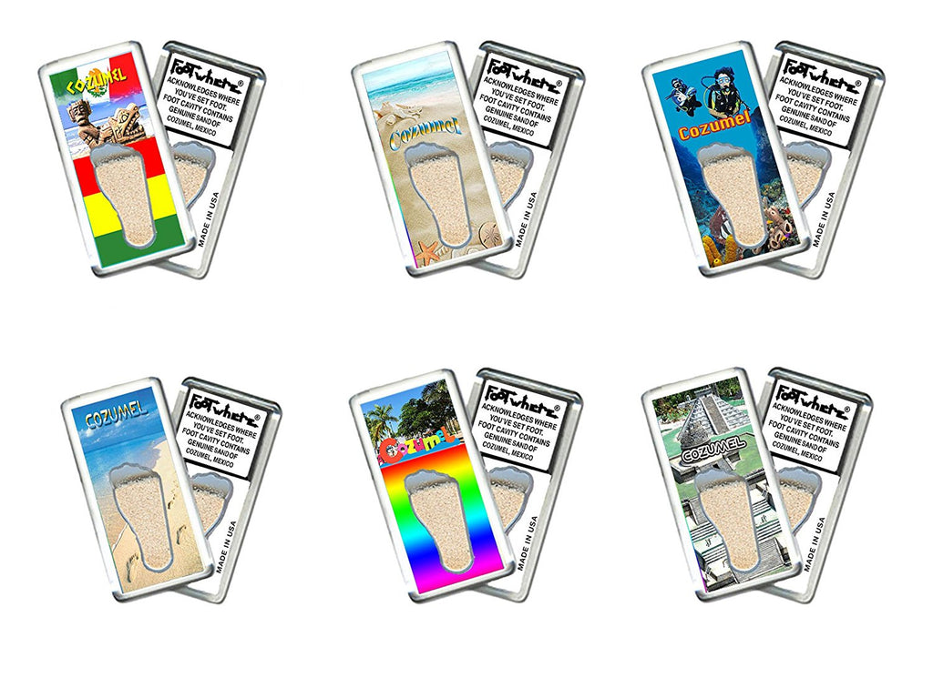 Cozumel FootWhere® Souvenir Fridge Magnets. 6 Piece Set. Made in USA - FootWhere® Souvenirs