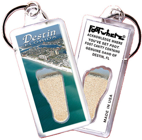 Destin, FL FootWhere® Souvenir Keychain. Made in USA - FootWhere® Souvenirs