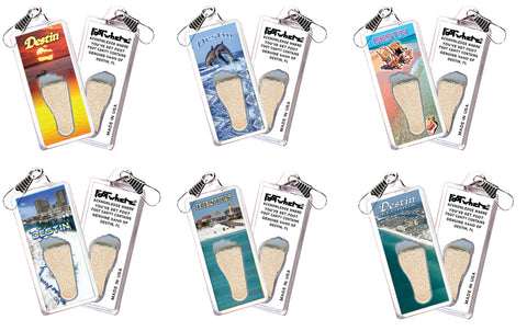 Destin FootWhere® Souvenir Zipper-pulls. 6 Piece Set. Made in USA - FootWhere® Souvenirs