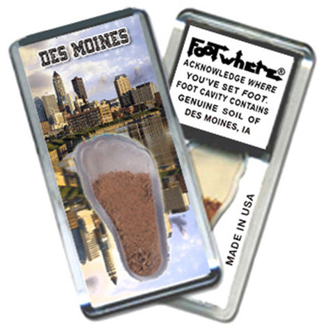 Des Moines FootWhere® Magnet. Made in USA