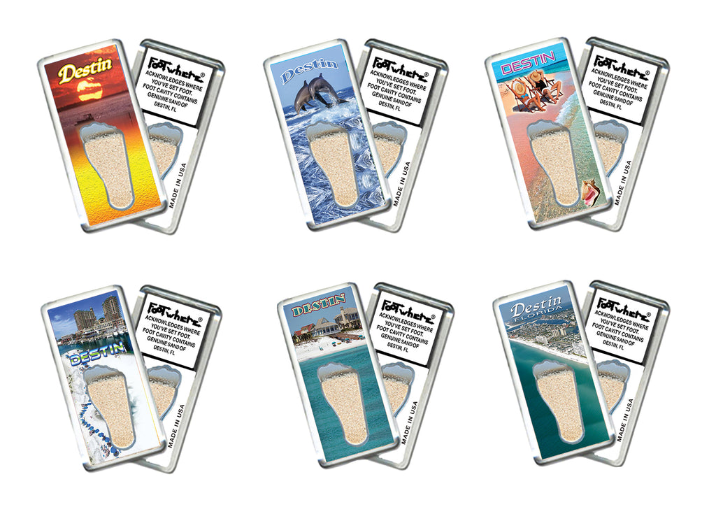 Destin FootWhere® Souvenir Fridge Magnets. 6 Piece Set. Made in USA - FootWhere® Souvenirs