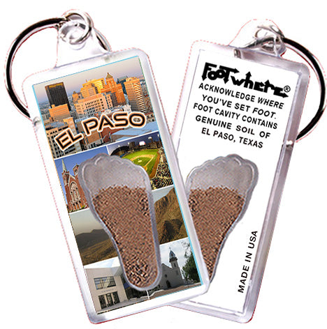 El Paso FootWhere® Souvenir Keychain. Made in USA - FootWhere® Souvenirs