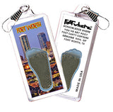 Fort Worth FootWhere® Souvenir Zipper-Pull. Made in USA.