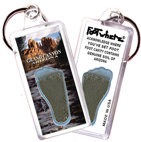 Grand Canyon, AZ FootWhere® Souvenir Keychain. Made in USA