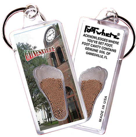 Gainesville, FL FootWhere® Souvenir Key Chain. Made in USA - FootWhere® Souvenirs