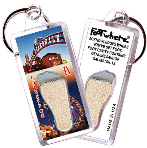 Galveston FootWhere® Souvenir Keychain. Made in USA - FootWhere® Souvenirs