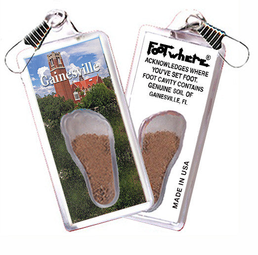 Gainesville, FL FootWhere® Souvenir Zipper-Pull. Made in USA - FootWhere® Souvenirs