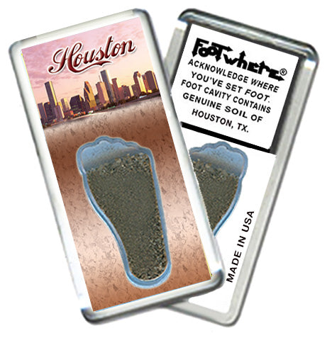 Houston FootWhere® SouvenirFridge Magnet. Made in USA - FootWhere® Souvenirs