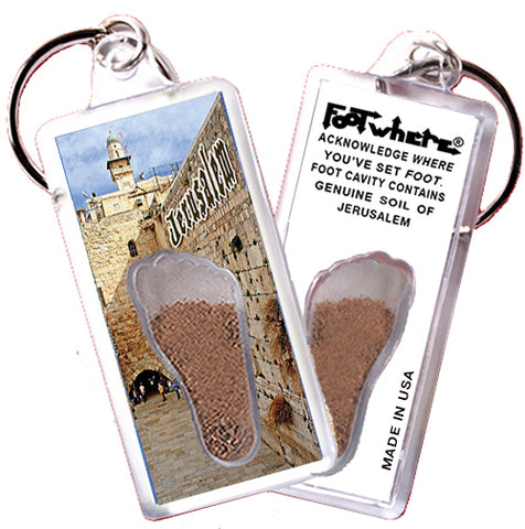 Jerusalem FootWhere® Souvenir Keychain. Made in USA